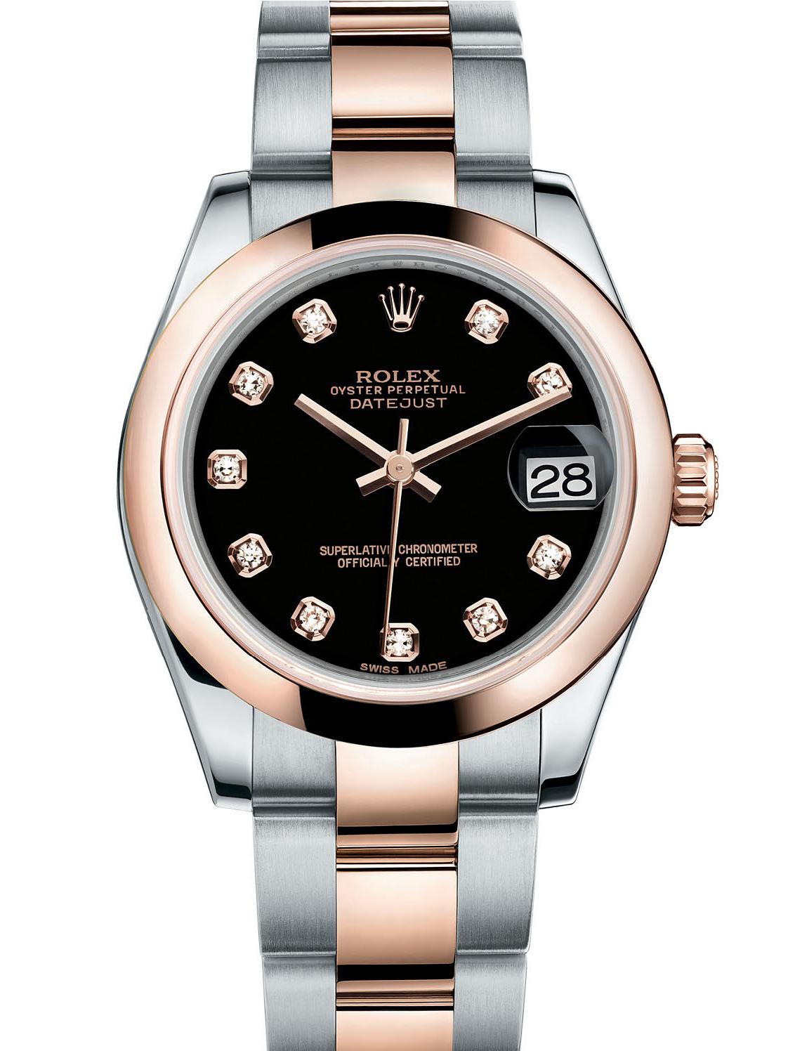 劳力士女装日志型31玫瑰金钢黑面钻标女表178241-0015