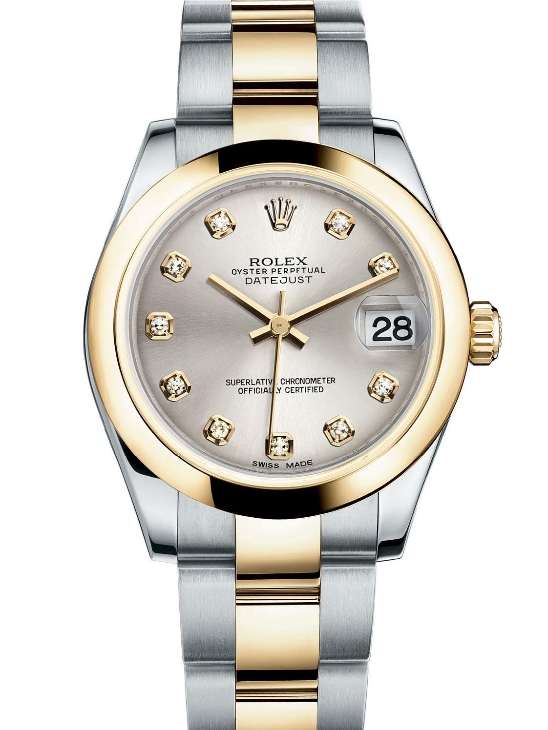 劳力士女装日志型31黄金钢银面钻标女表178243-0022