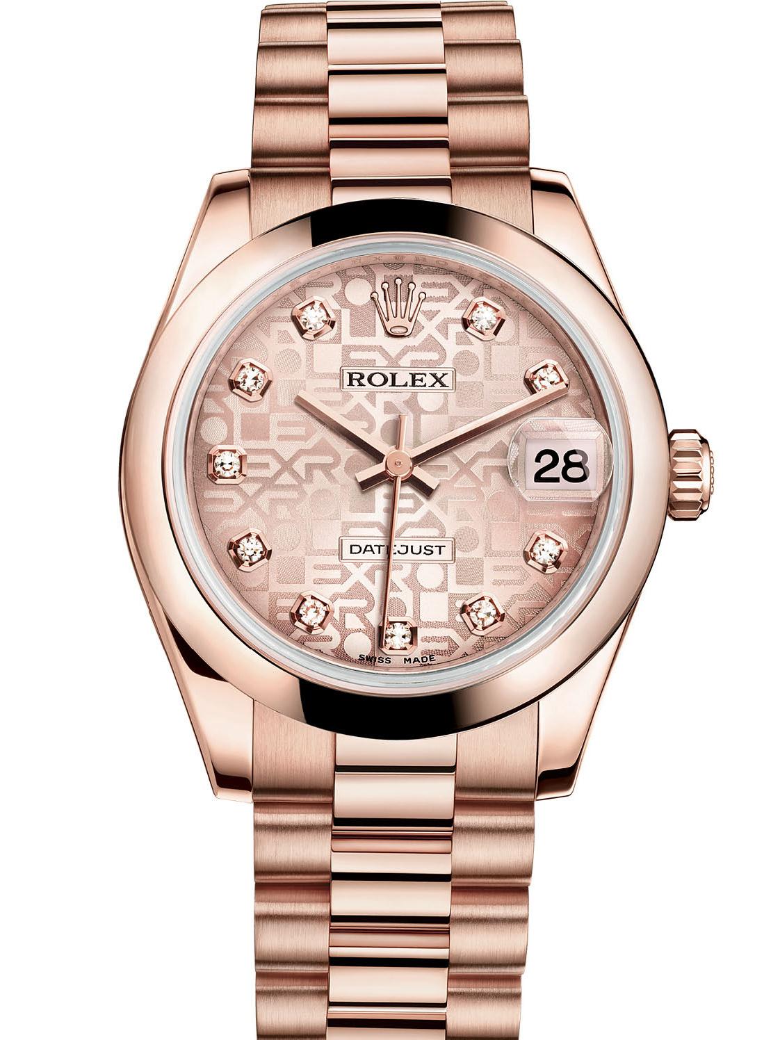 劳力士女装日志型31玫瑰金粉红色纪念纹面钻标女表178245F-0005