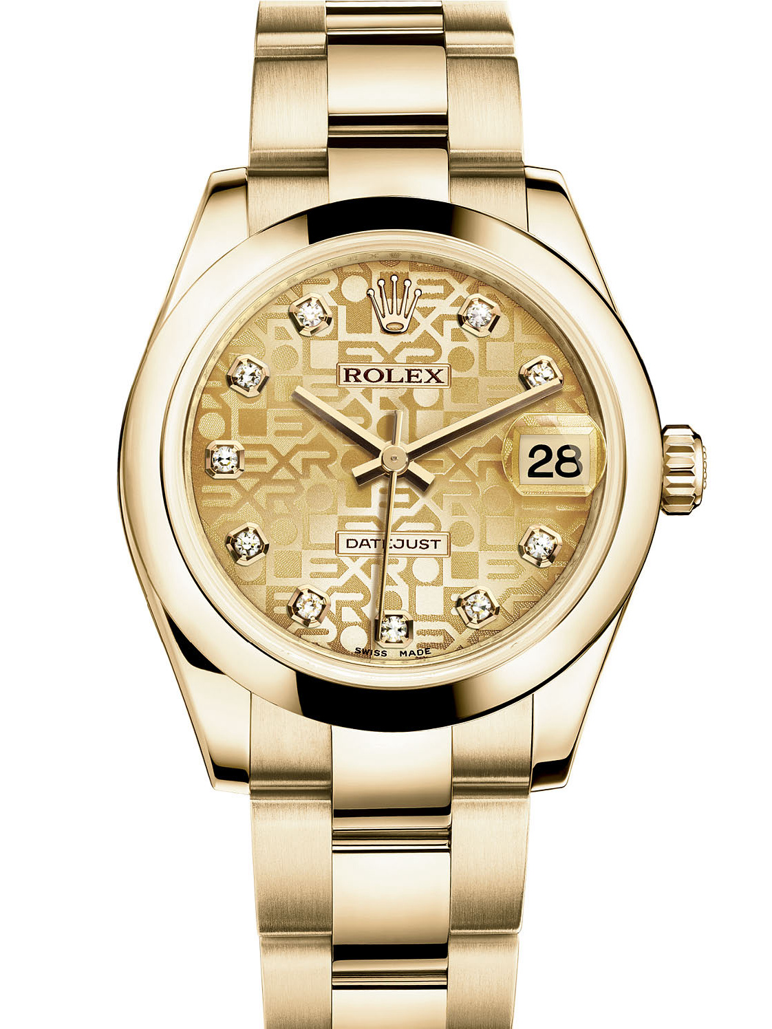 劳力士女装日志型31黄金金色纪念纹面钻标女表178248-0070