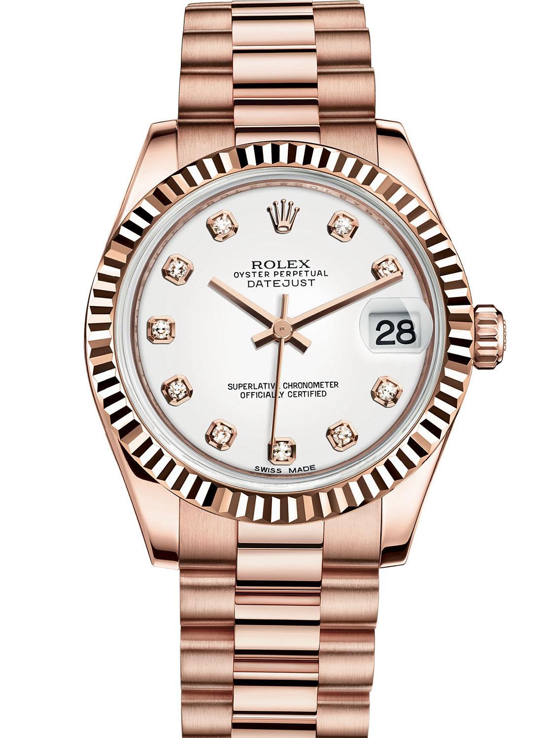 劳力士女装日志型31玫瑰金牙圈白面钻标女表178275F-0011