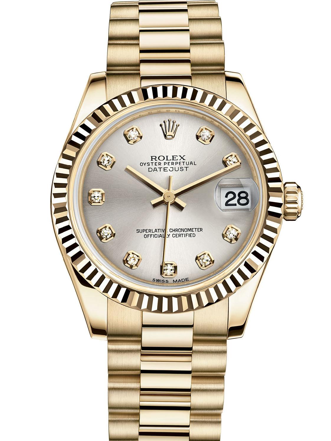劳力士女装日志型31黄金牙圈银面钻标女表178278-0040