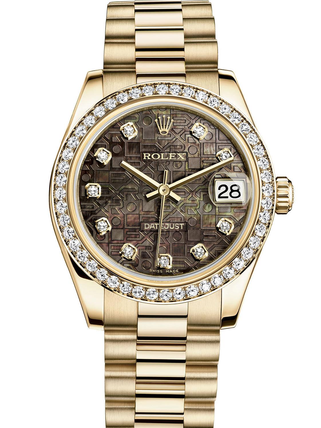 劳力士女装日志型31黄金钻圈黑贝母纪念纹面钻标女表178288-0016