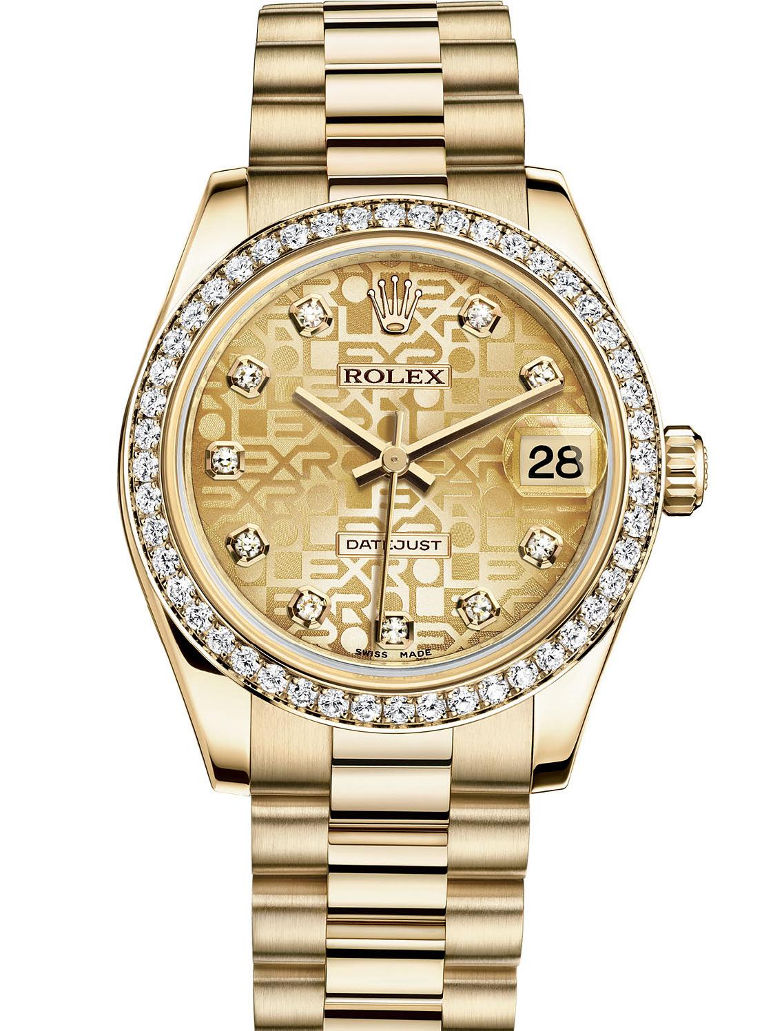劳力士女装日志型31黄金钻圈金纪念纹面钻标女表178288-0021