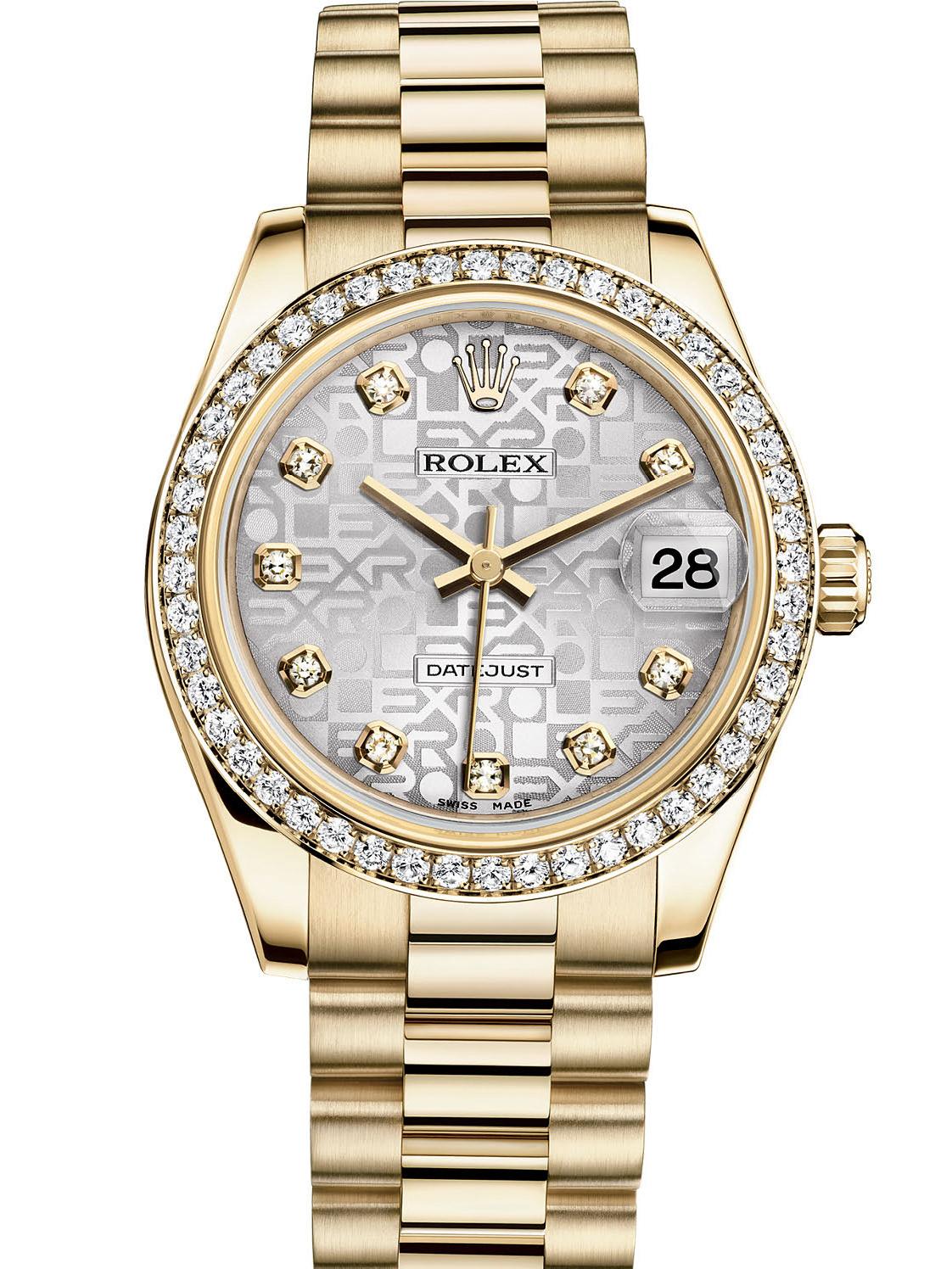 劳力士女装日志型31黄金钻圈银纪念纹面钻标女表178288-0028