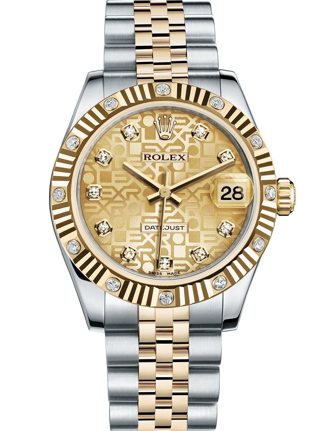 劳力士女装日志型31黄金钢牙圈香槟色纪念纹面镶钻女表178313-0030