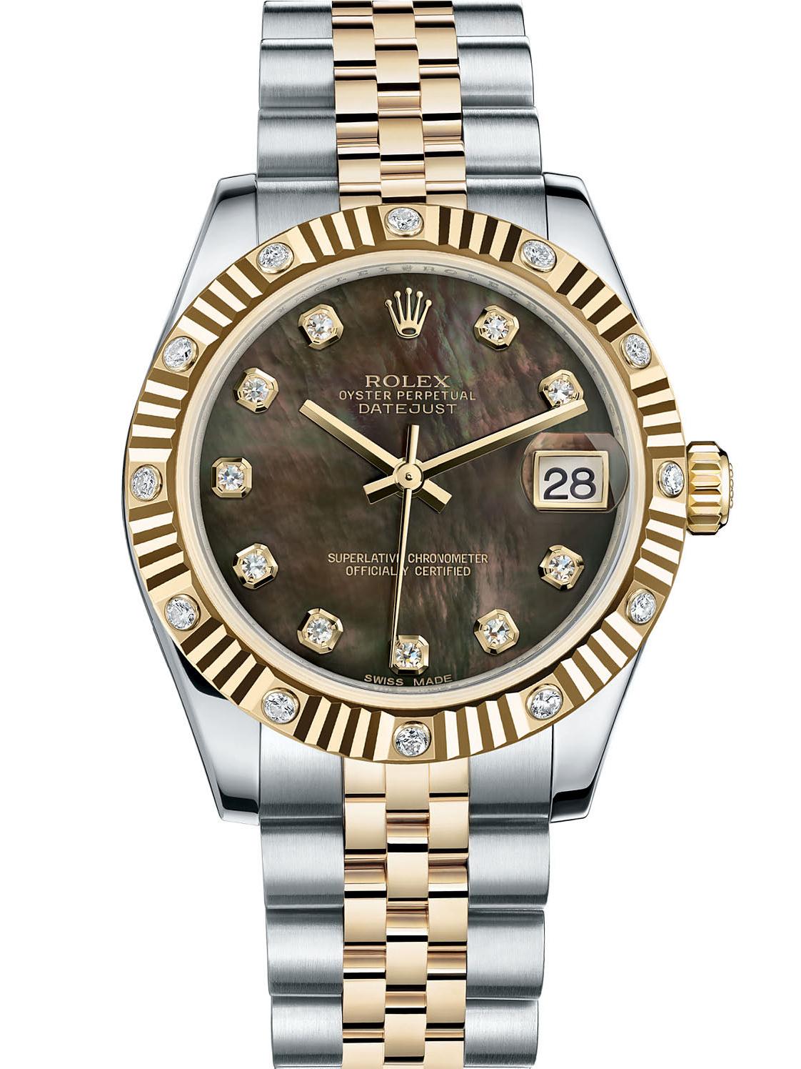 劳力士女装日志型31黄金钢牙圈镶钻黑贝母面钻标女表178313-0066