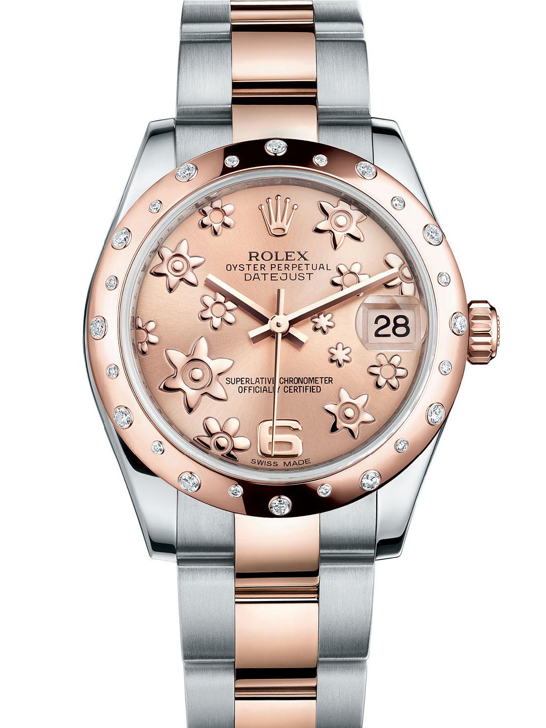 劳力士女装日志型31玫瑰金钢光圈镶钻粉花纹面女表178341-0013