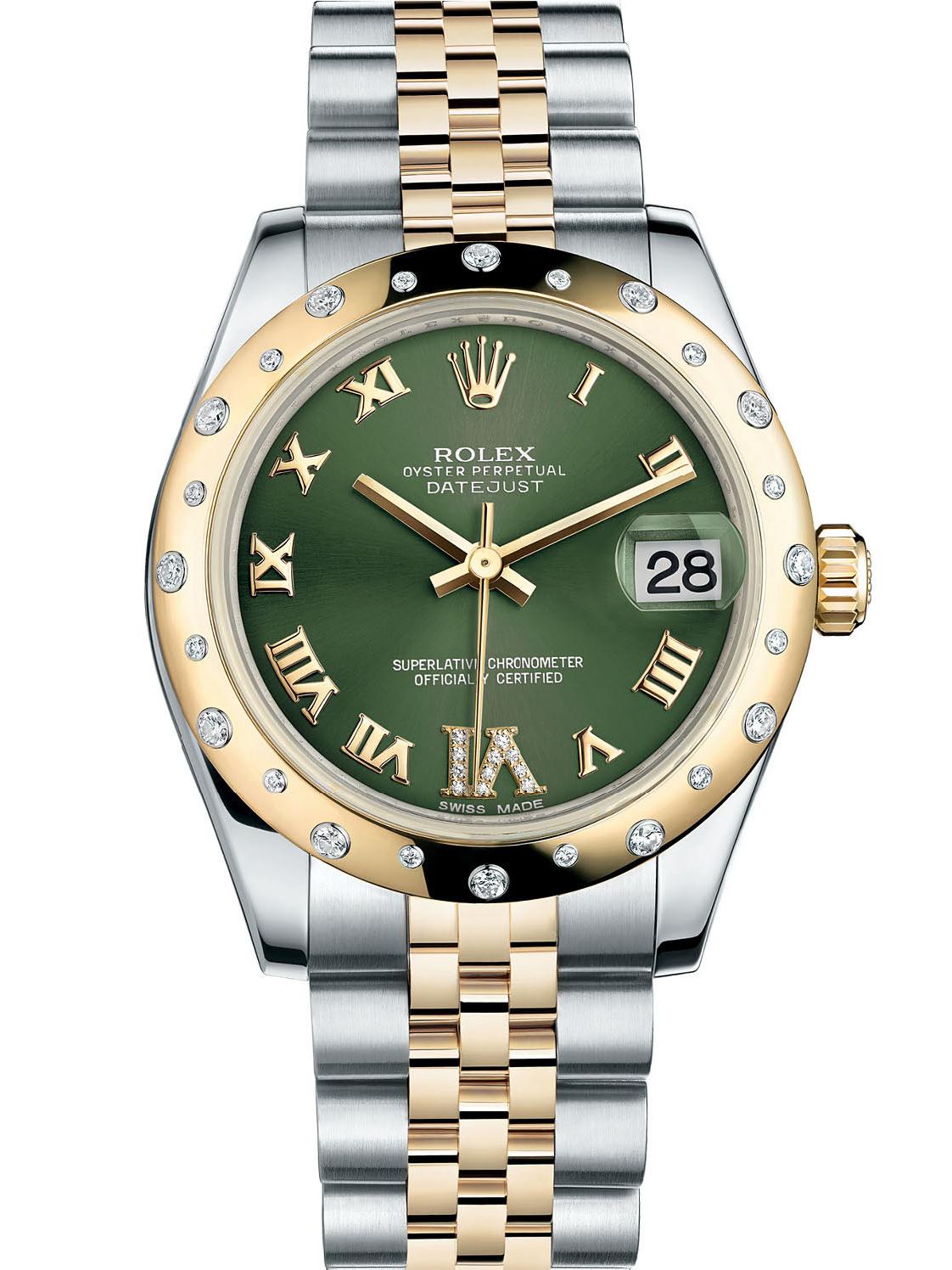 劳力士女装日志型31黄金钢光圈镶钻绿面罗马字女表178343-0011