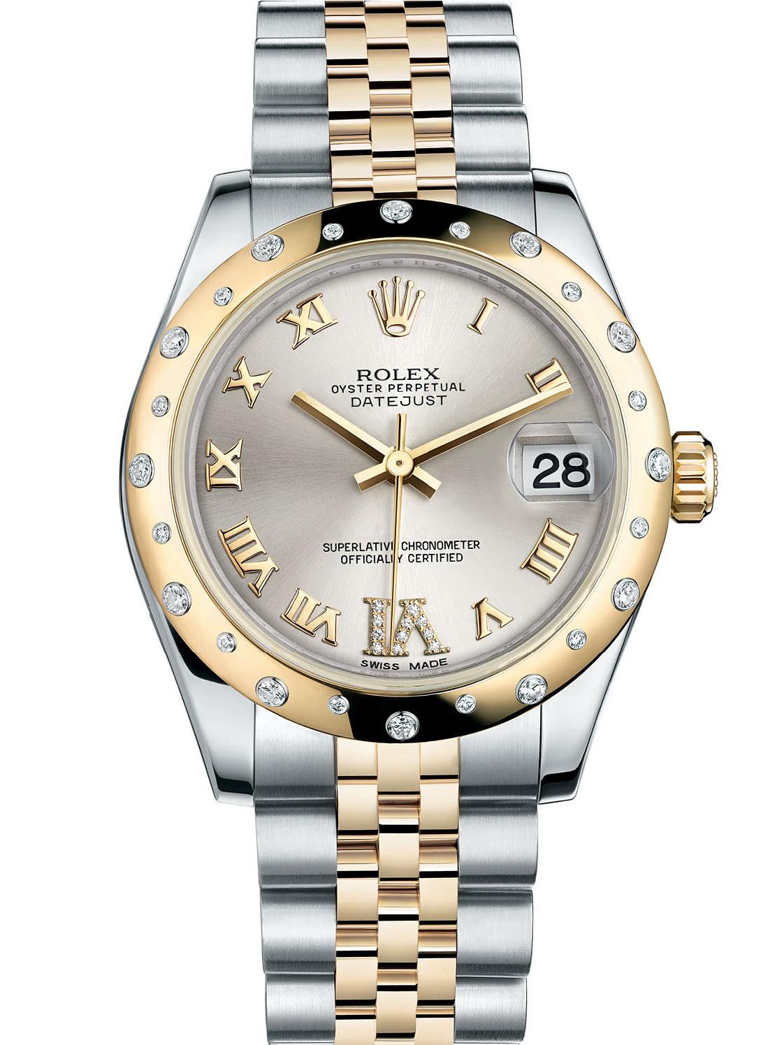 劳力士女装日志型31黄金钢银面罗马字镶钻女表M178343-0012