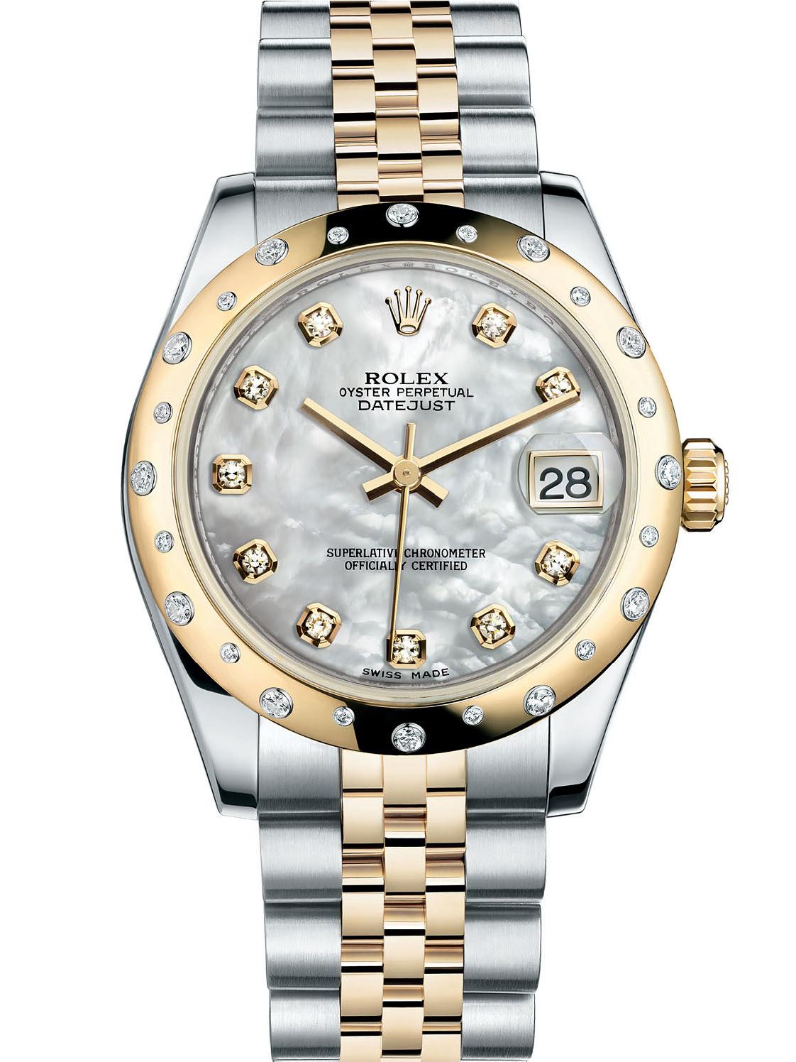 劳力士女装日志型31黄金钢光圈镶钻白贝母面钻标女表178343-0017