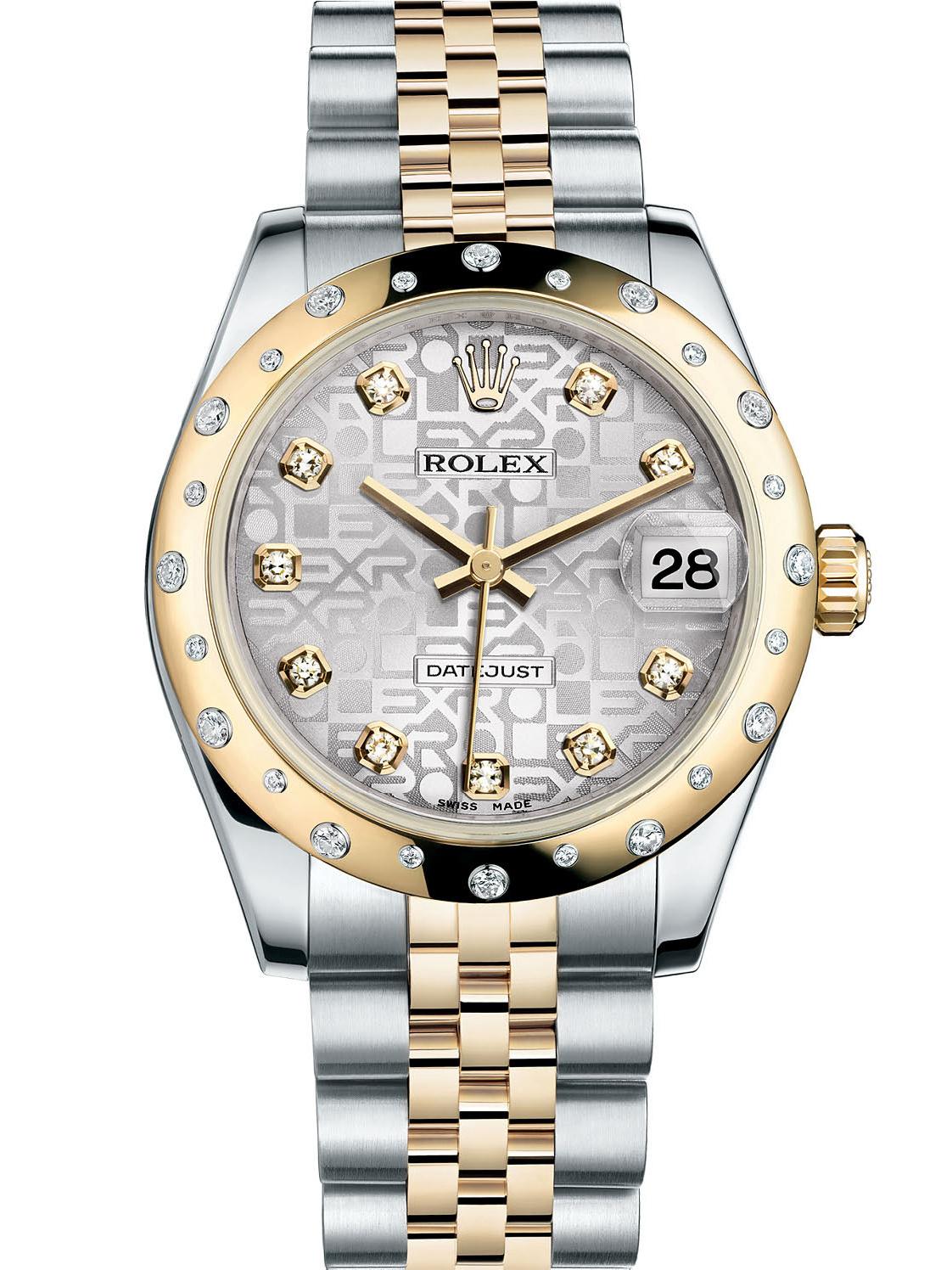 劳力士女装日志型31黄金钢光圈镶钻银纪念纹面钻标女表178343-0025