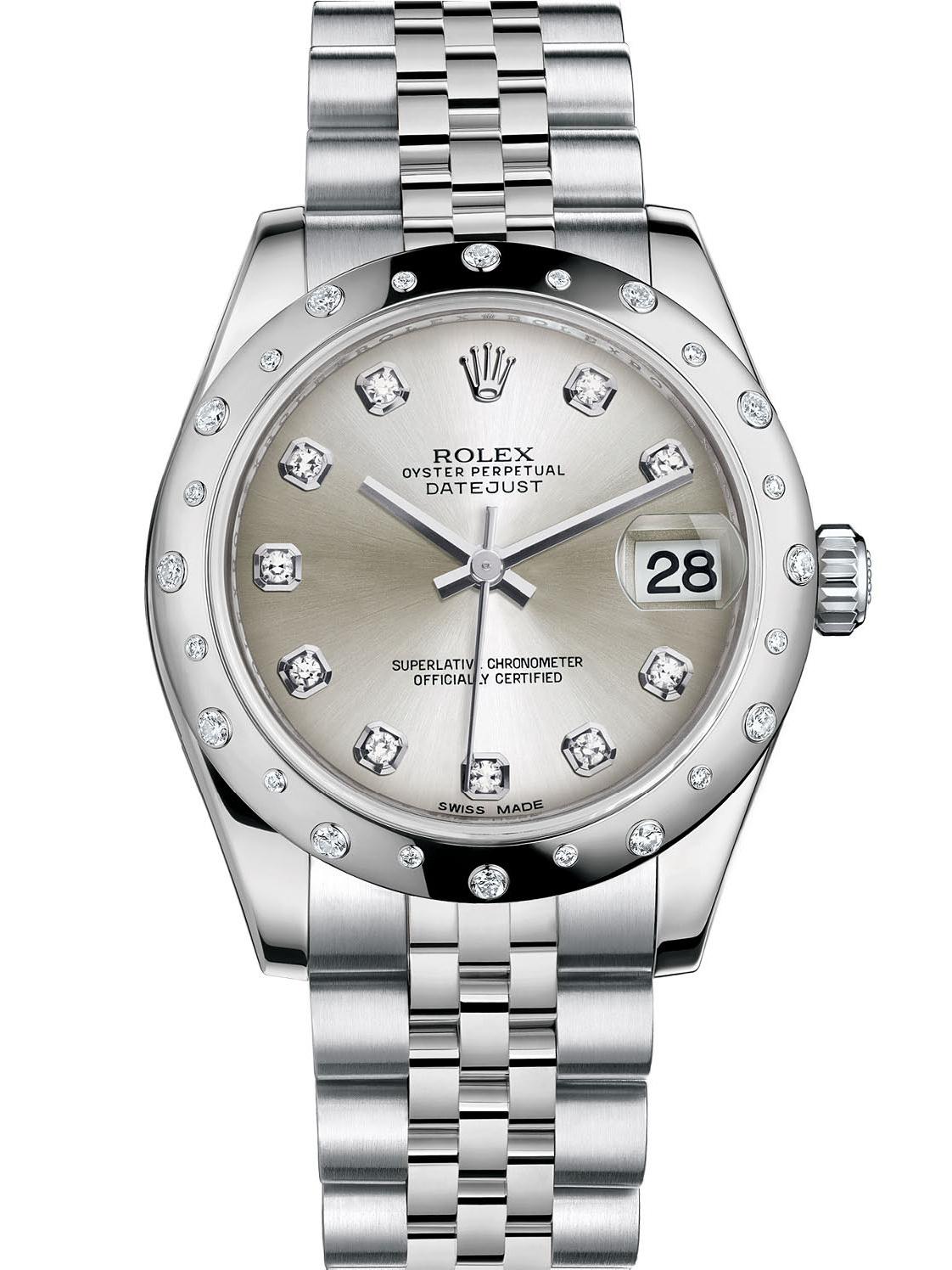 劳力士女装日志型31白金钢光圈镶钻银面钻标女表178344-0060