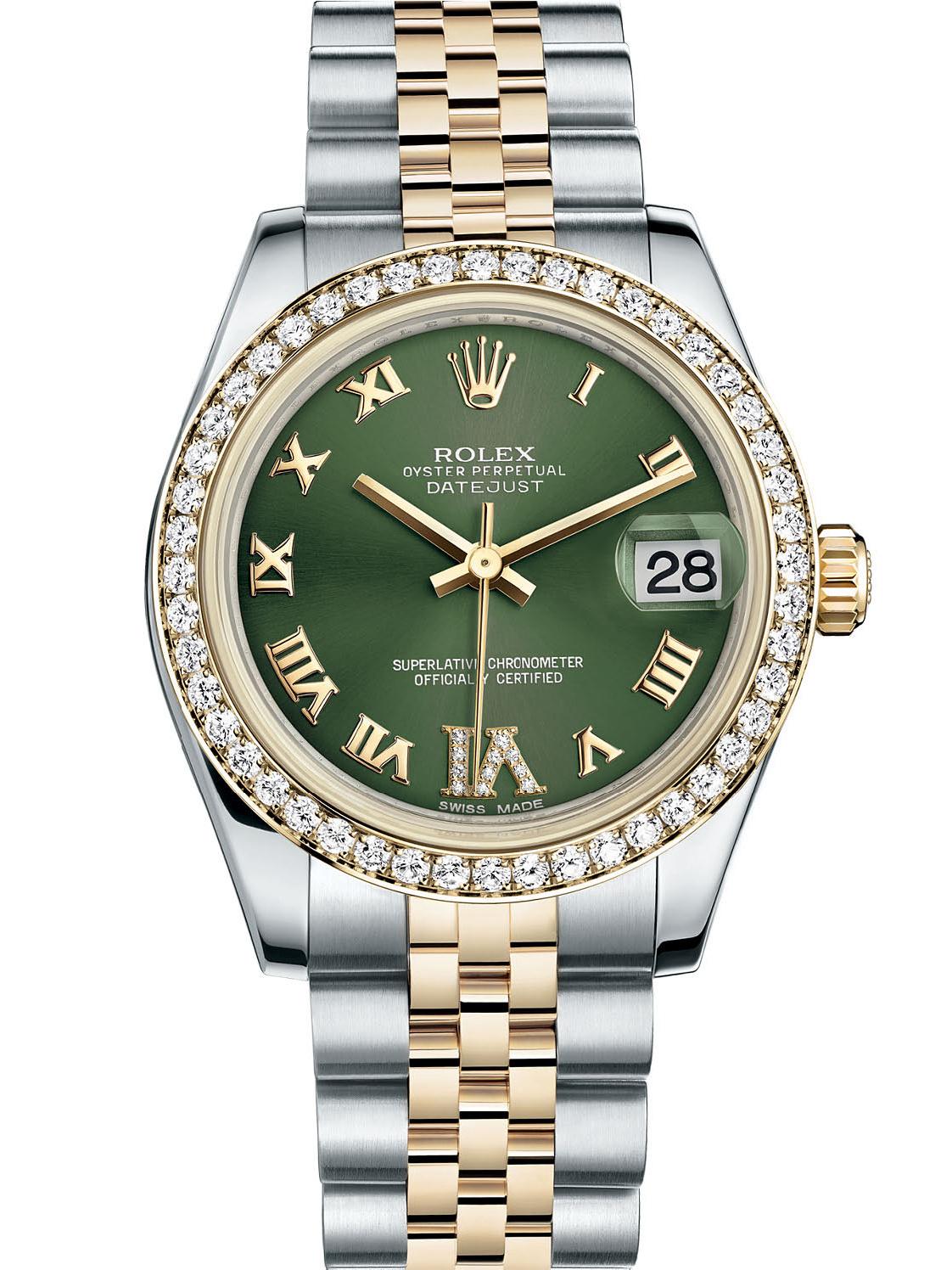 劳力士女装日志型31黄金钢钻圈绿面罗马字女表178383-0005
