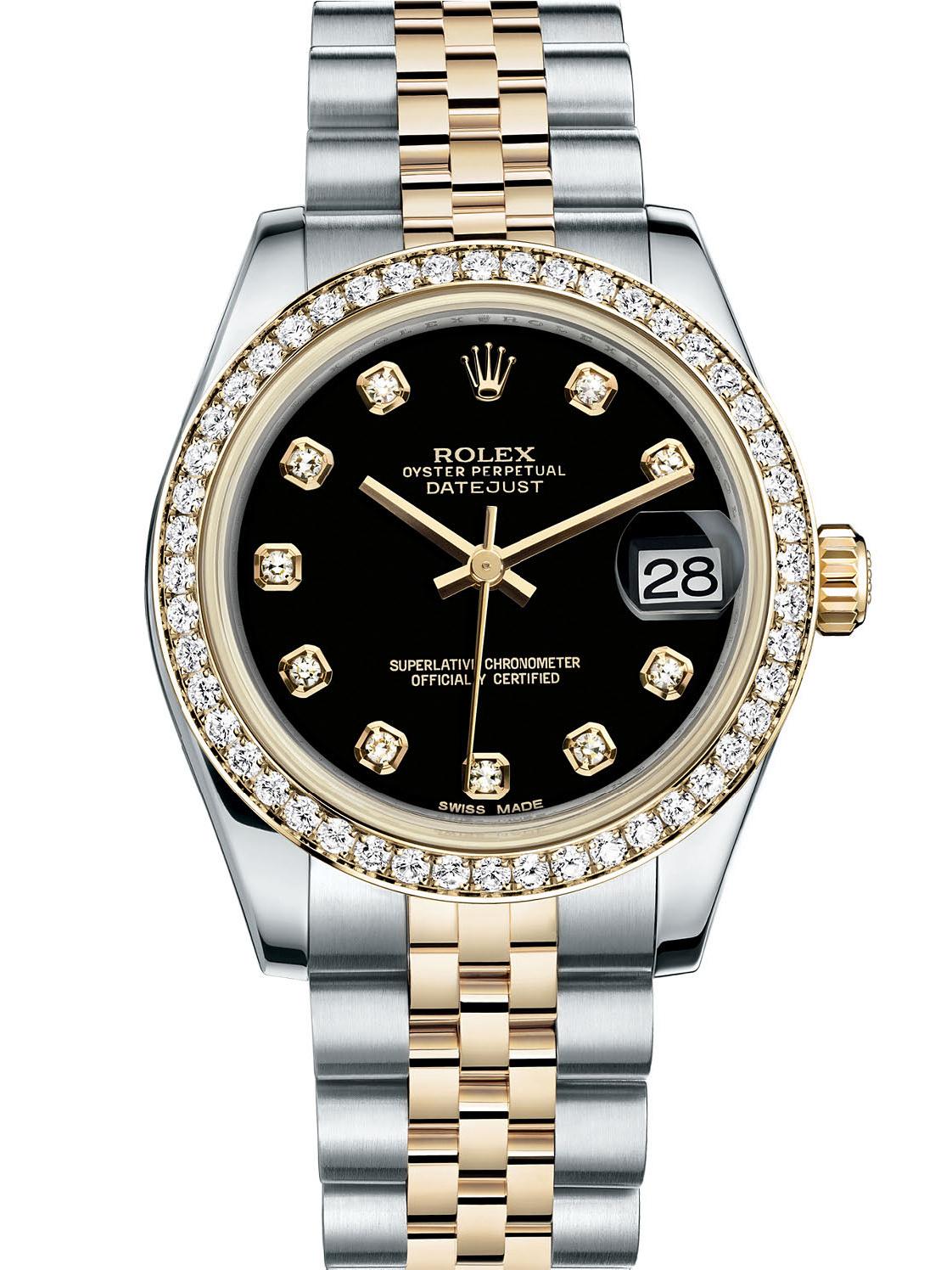 劳力士女装日志型31黄金钢钻圈黑面钻标女表178383-0034