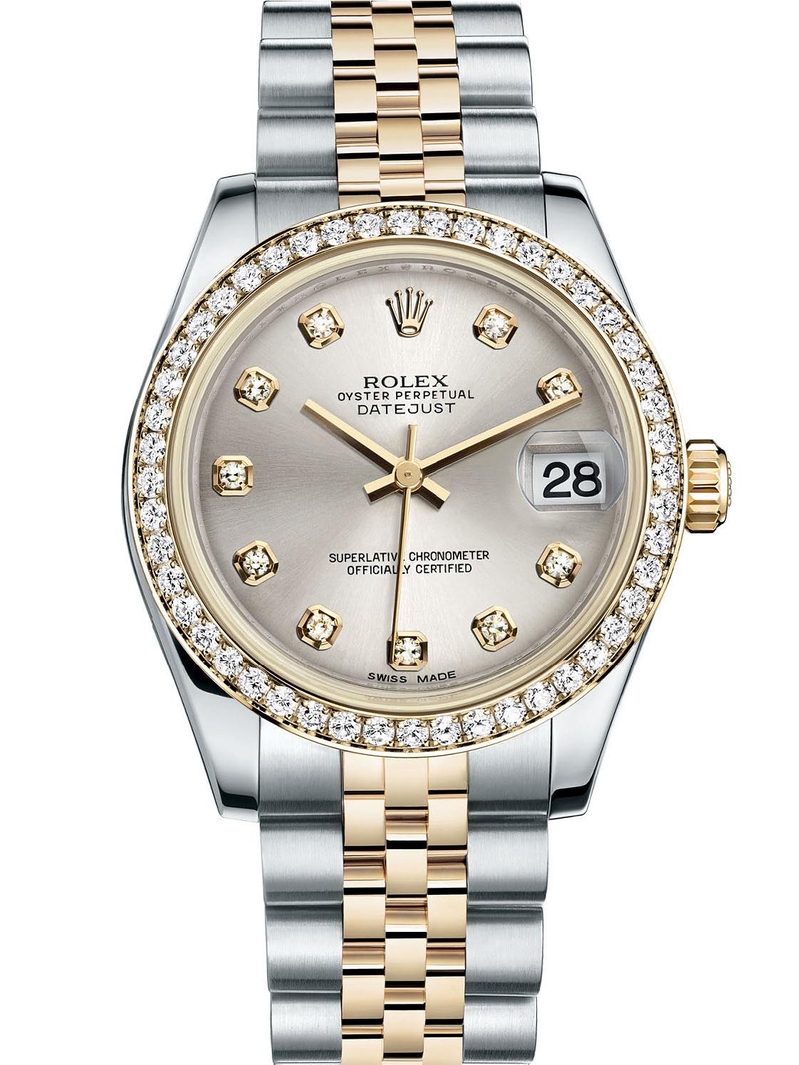 劳力士女装日志型31黄金钢钻圈银面钻标女表178383-0052