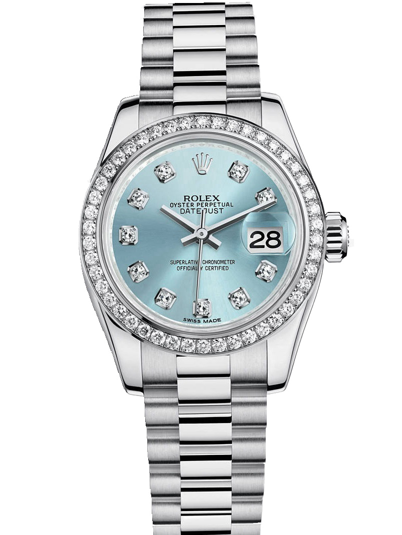 劳力士女装日志型26铂金钻圈冰蓝面钻标女表179136-0017