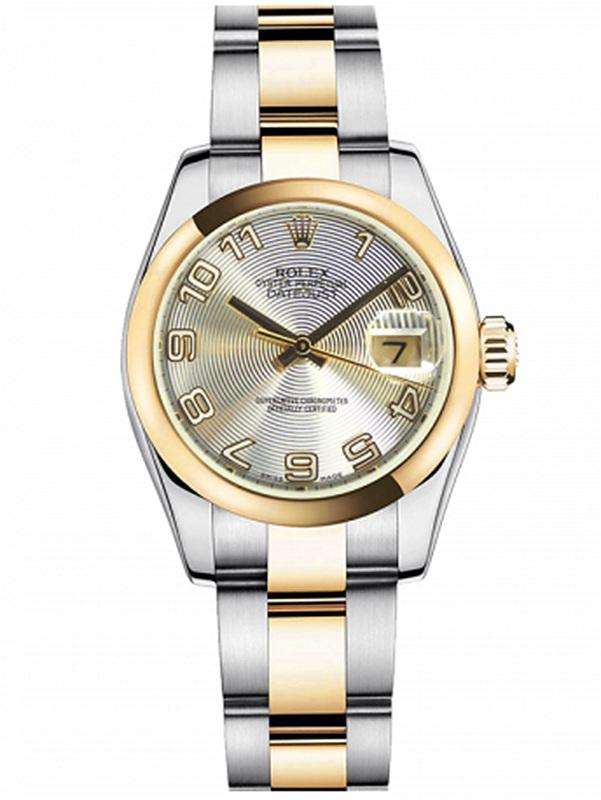 劳力士女装日志型26黄金钢银同心纹数字面女表179163SCAO