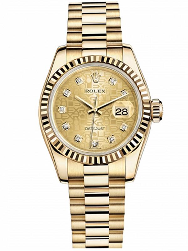 劳力士女装日志型26黄金牙圈金色电脑纹面钻标女表179178CHJDP