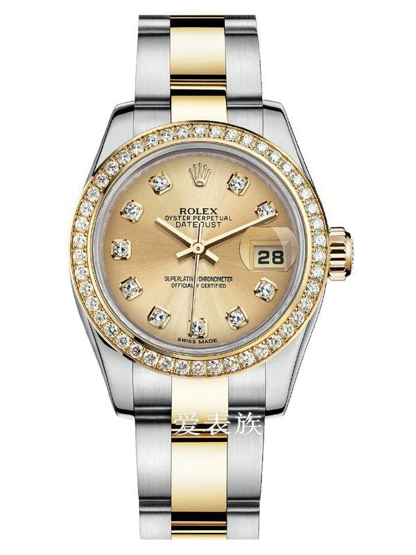 劳力士女装日志型26黄金钢钻圈金面钻标女表179383-0001