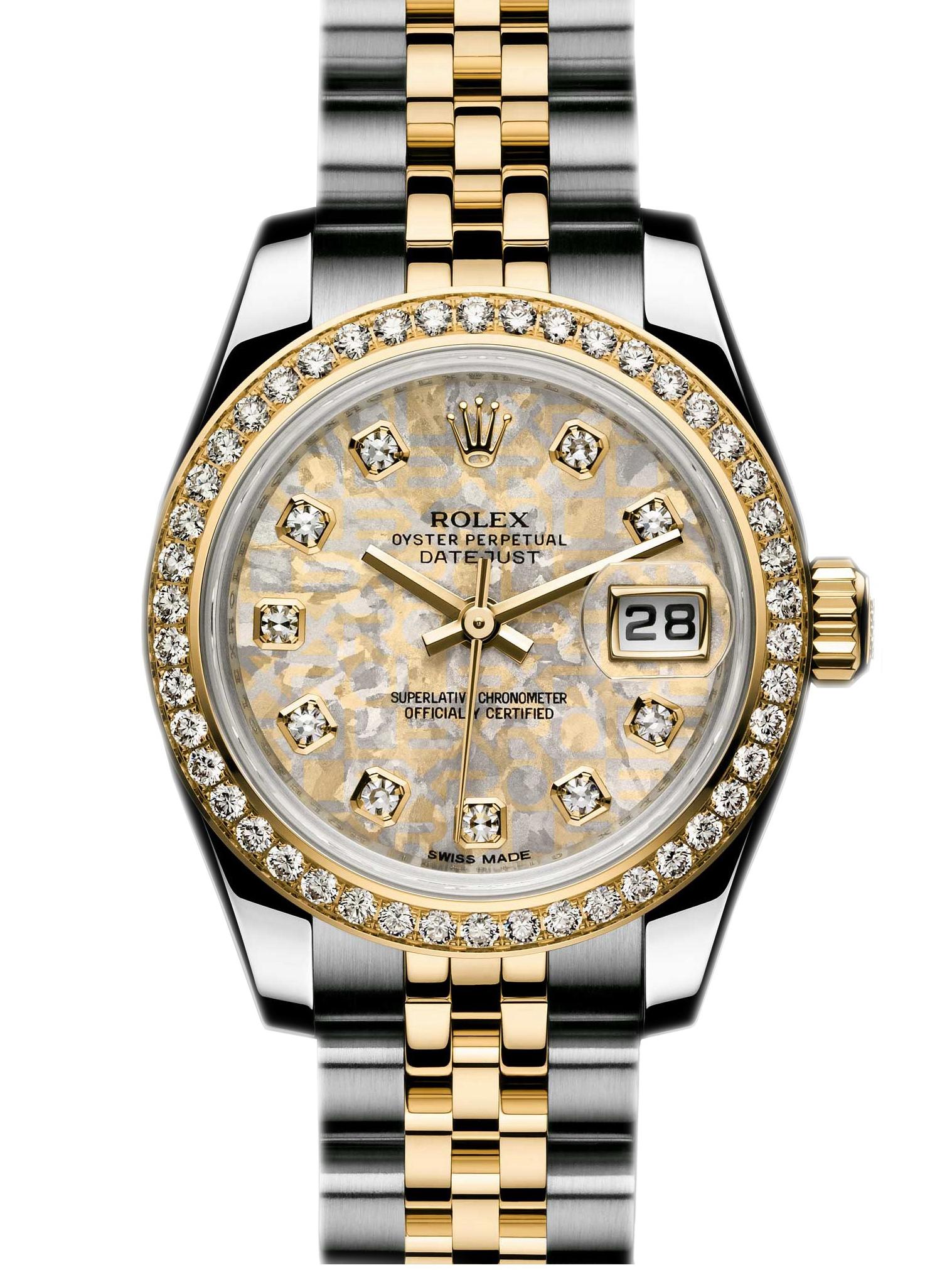 劳力士女装日志型26黄金钢钻圈金晶石面钻标女表179383-0010