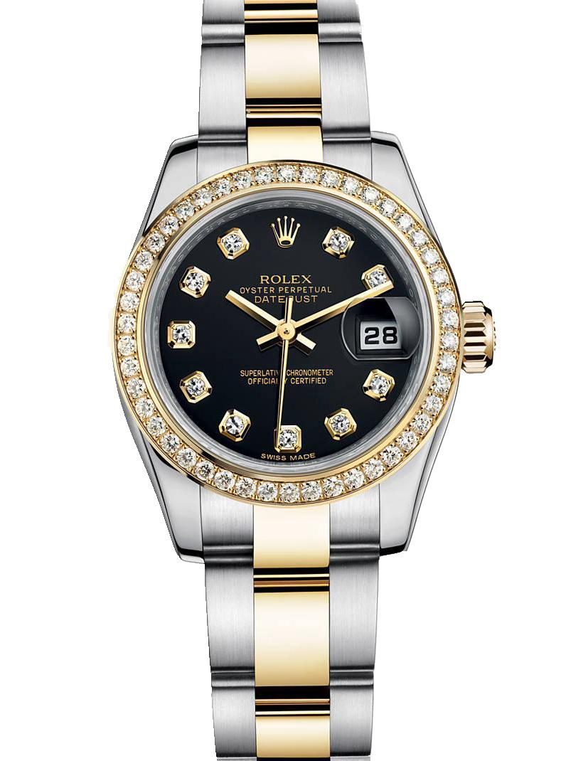 劳力士女装日志型26黄金钢钻圈黑面钻标女表179383-0030