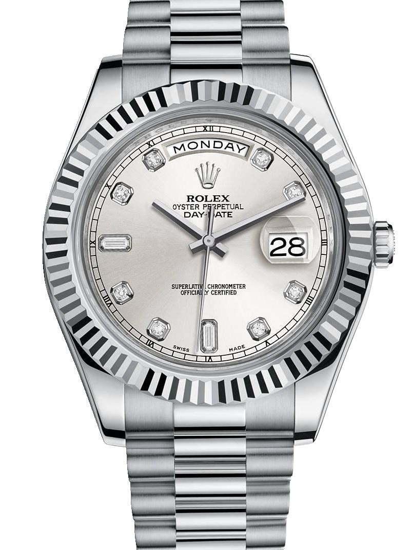 劳力士星期日历型II41白金牙圈银面钻标男表218239-0006