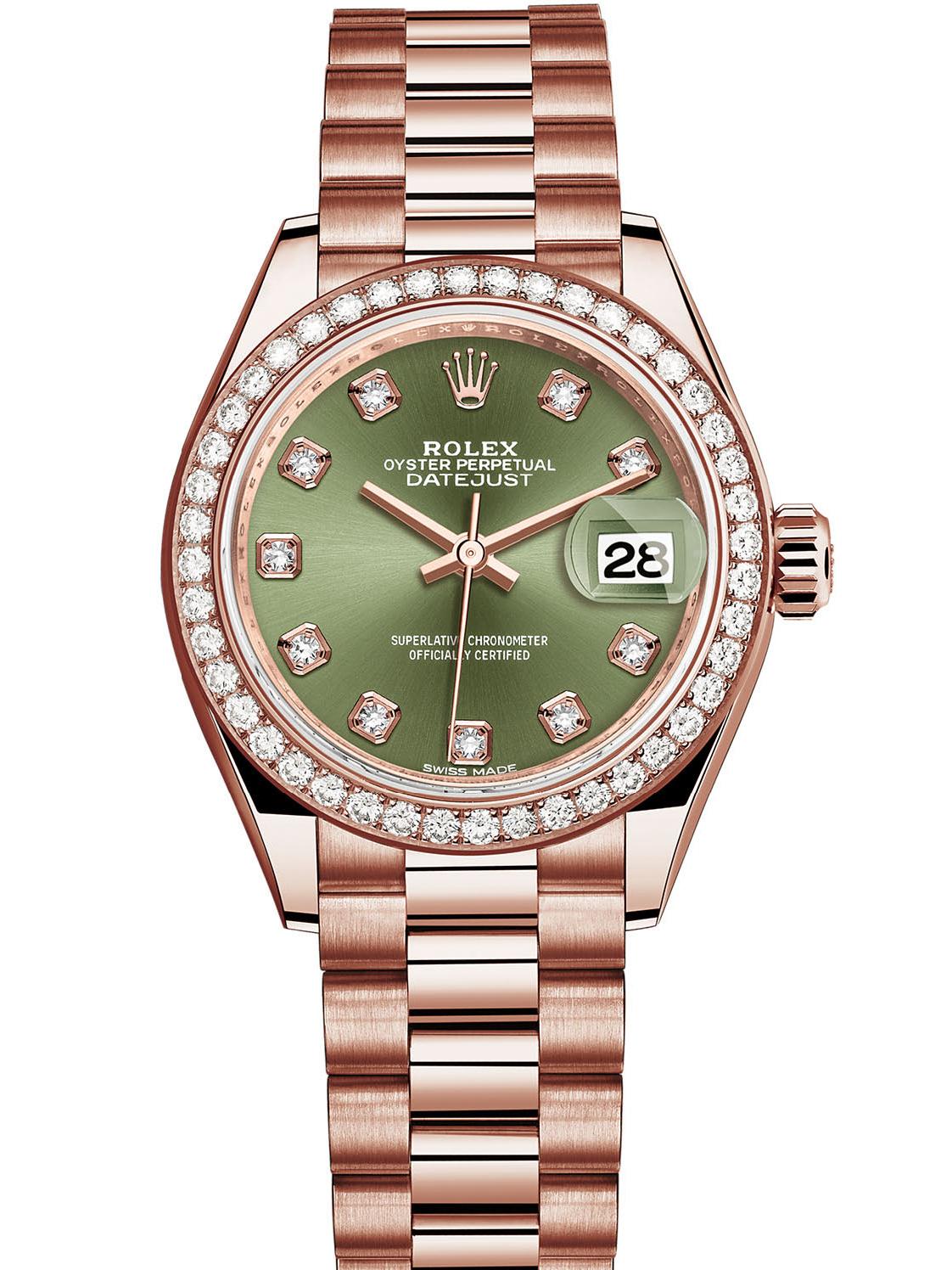 劳力士女装日志型28玫瑰金钻圈绿面钻标女表279135RBR-0014