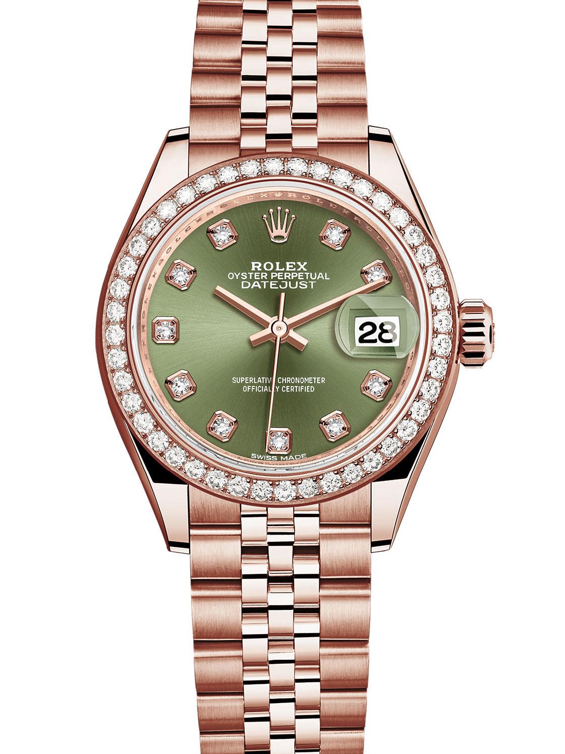 劳力士女装日志型28玫瑰金钻圈绿面钻标女表279135RBR-0015