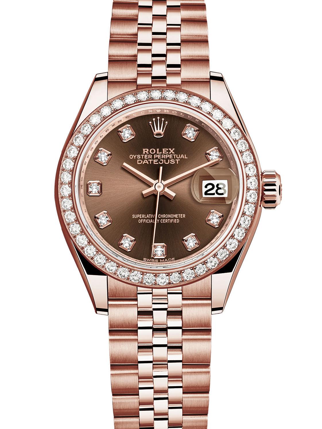 劳力士女装日志型28玫瑰金钻圈棕面钻标女表279135RBR-0018