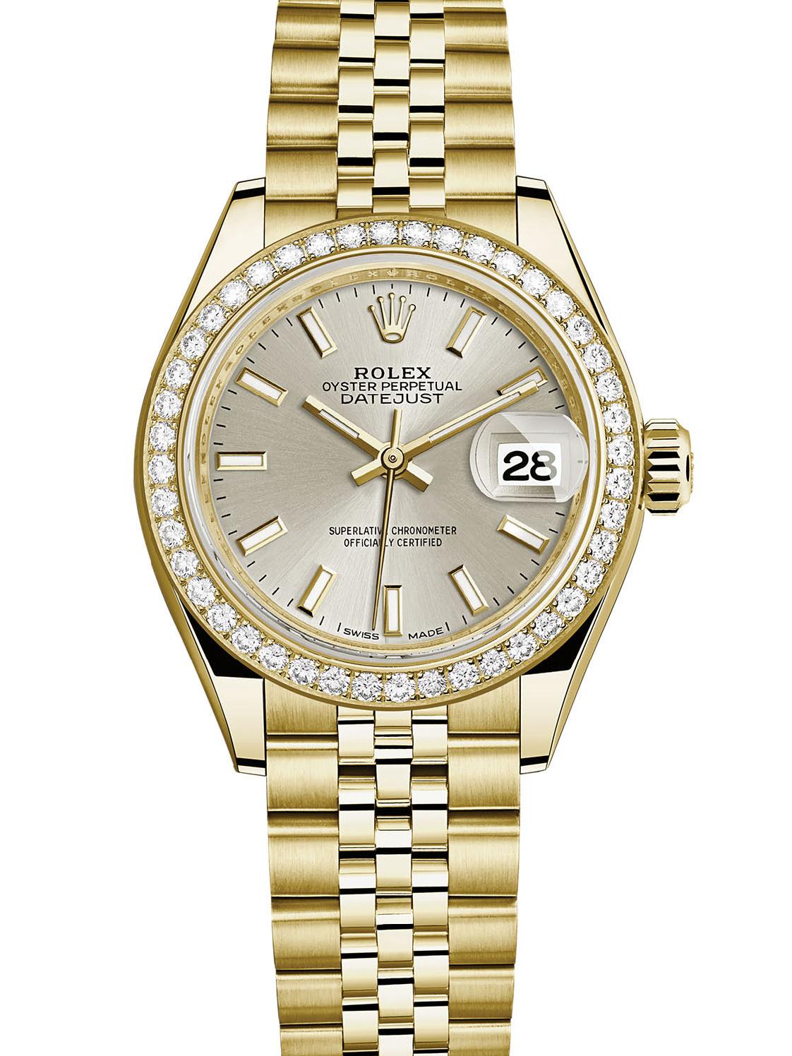 劳力士女装日志型28黄金钻圈银面女表279138RBR-0012