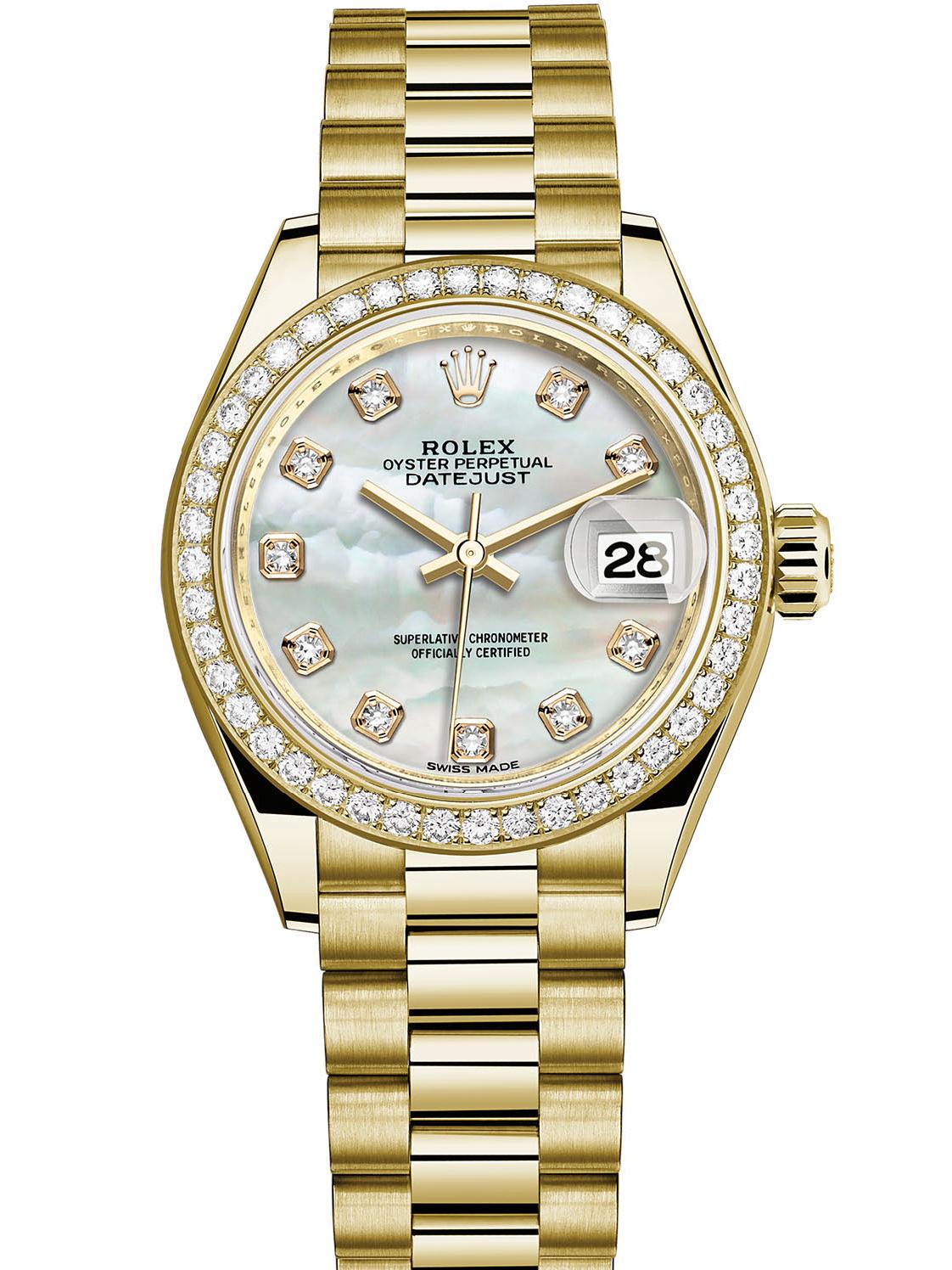 劳力士女装日志型28黄金钻圈白贝母面钻标女表279138RBR-0015