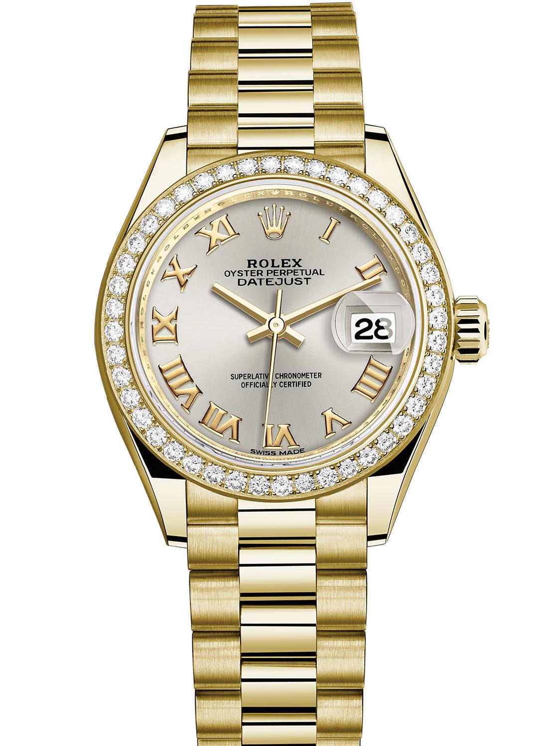 劳力士女装日志型28黄金钻圈银面罗马字女表279138RBR-0017