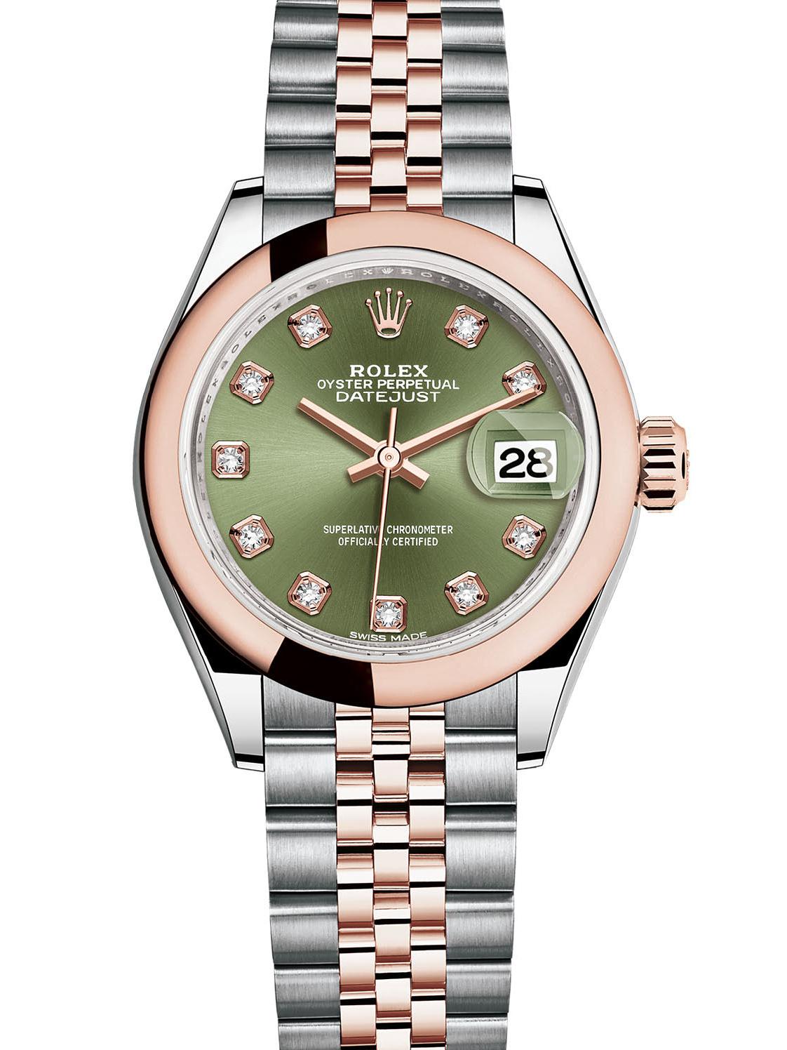 劳力士女装日志型28玫瑰金钢绿面钻标女表279161-0007