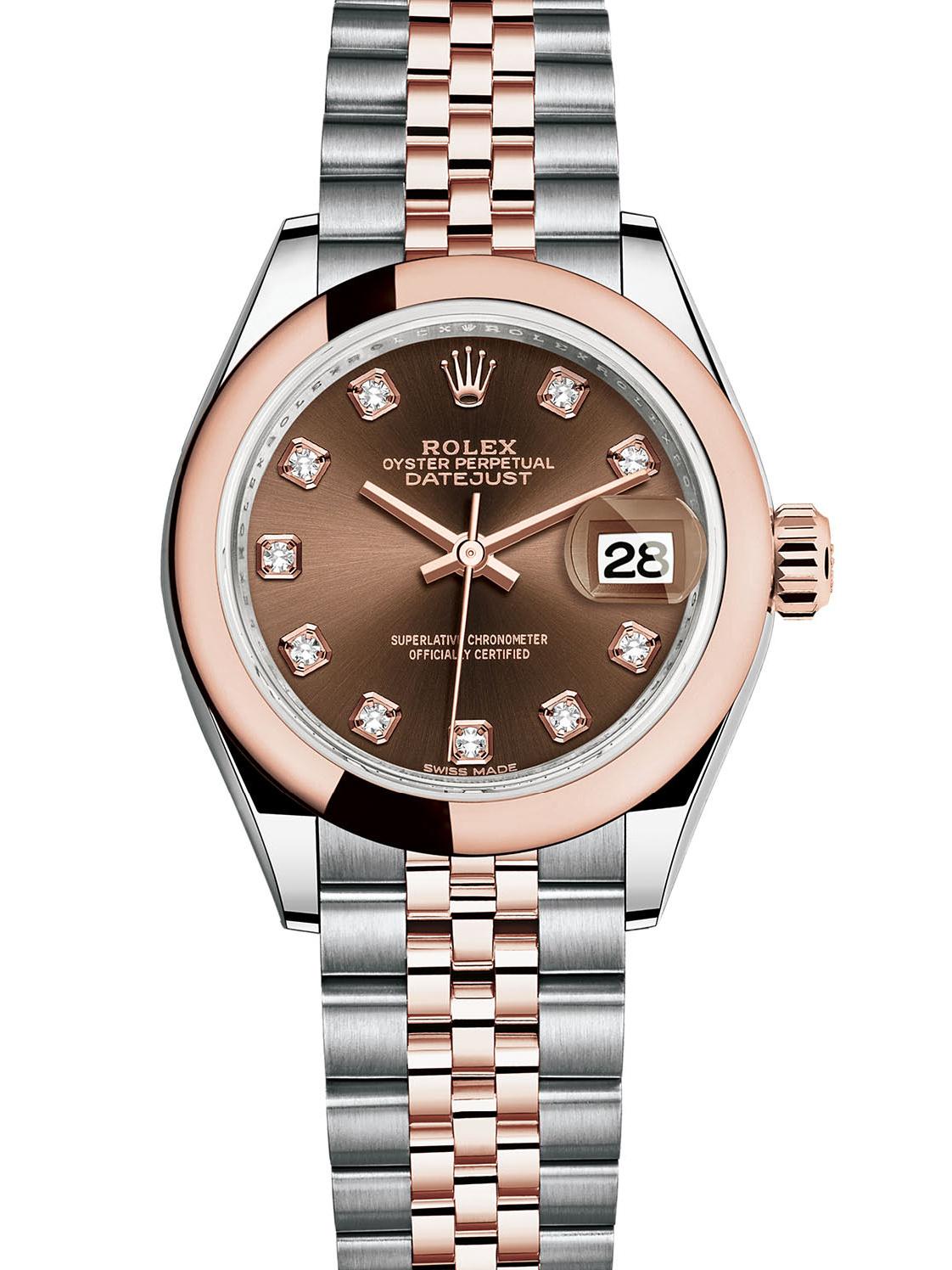 劳力士女装日志型28玫瑰金钢棕面钻标女表279161-0011