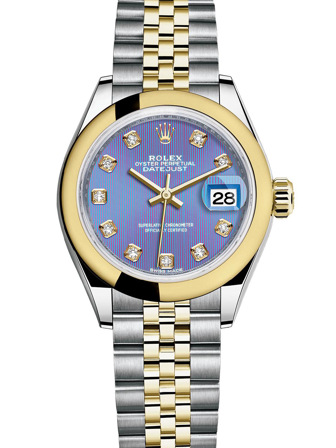 劳力士女装日志型28黄金钢紫面钻标女表279163-0017