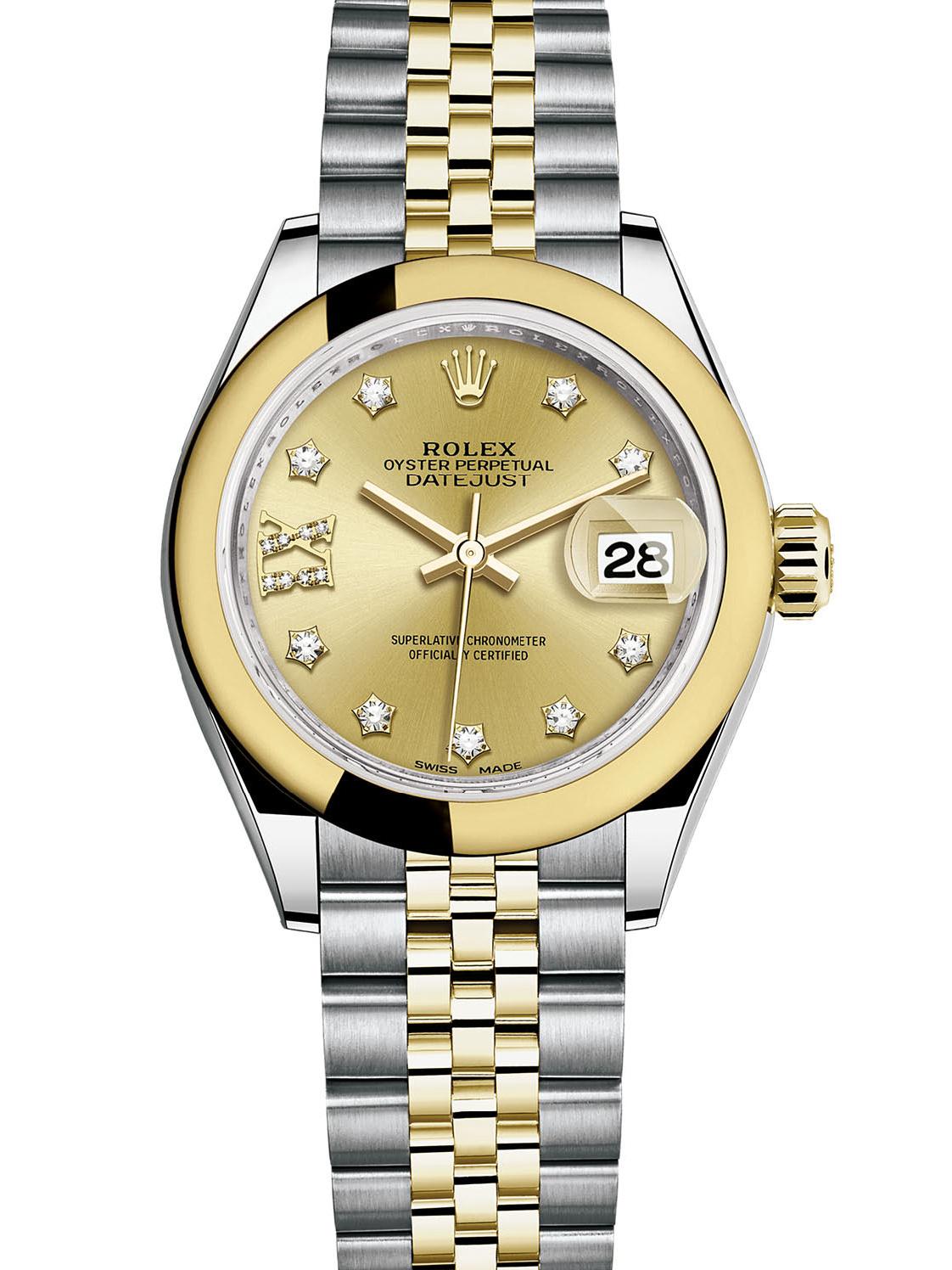 劳力士女装日志型28黄金钢金面钻标女表279163-0022