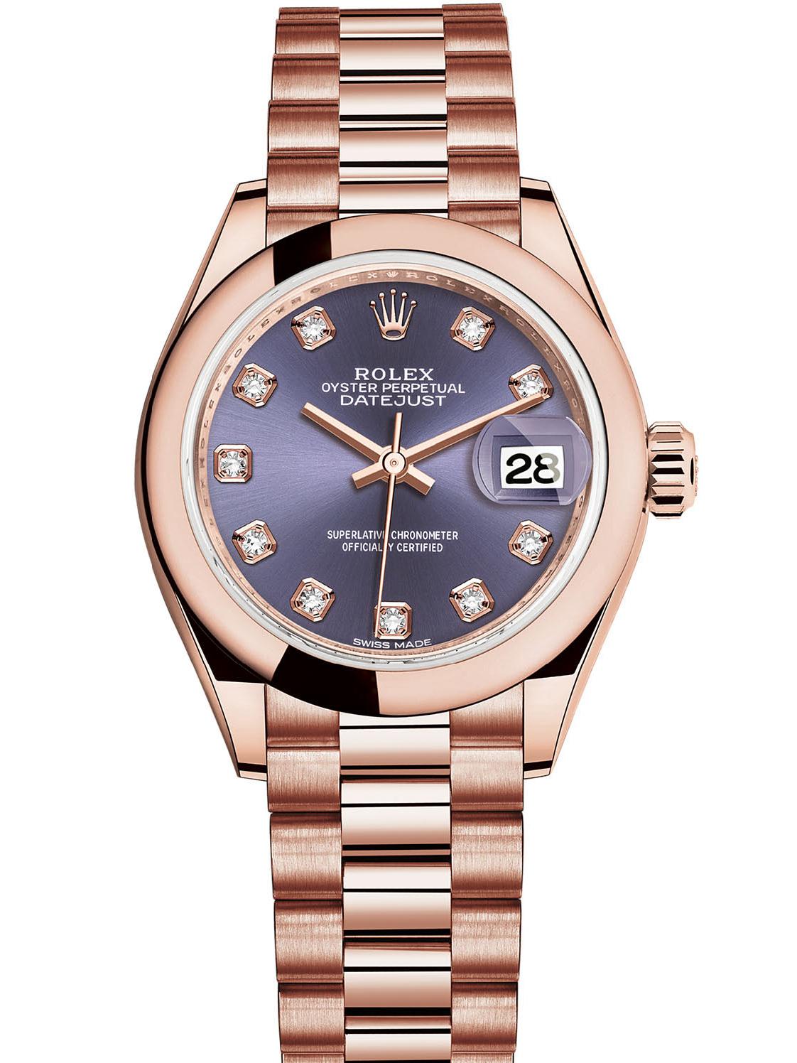 劳力士女装日志型28玫瑰金紫面钻标女表279165-0019