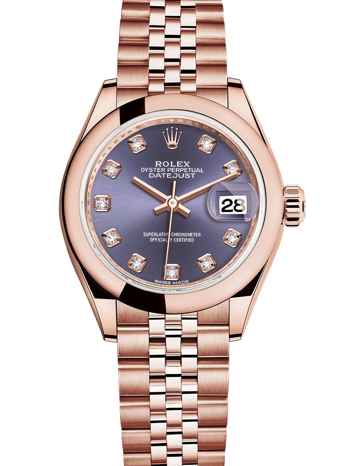 劳力士女装日志型28玫瑰金紫面钻标女表279165-0020