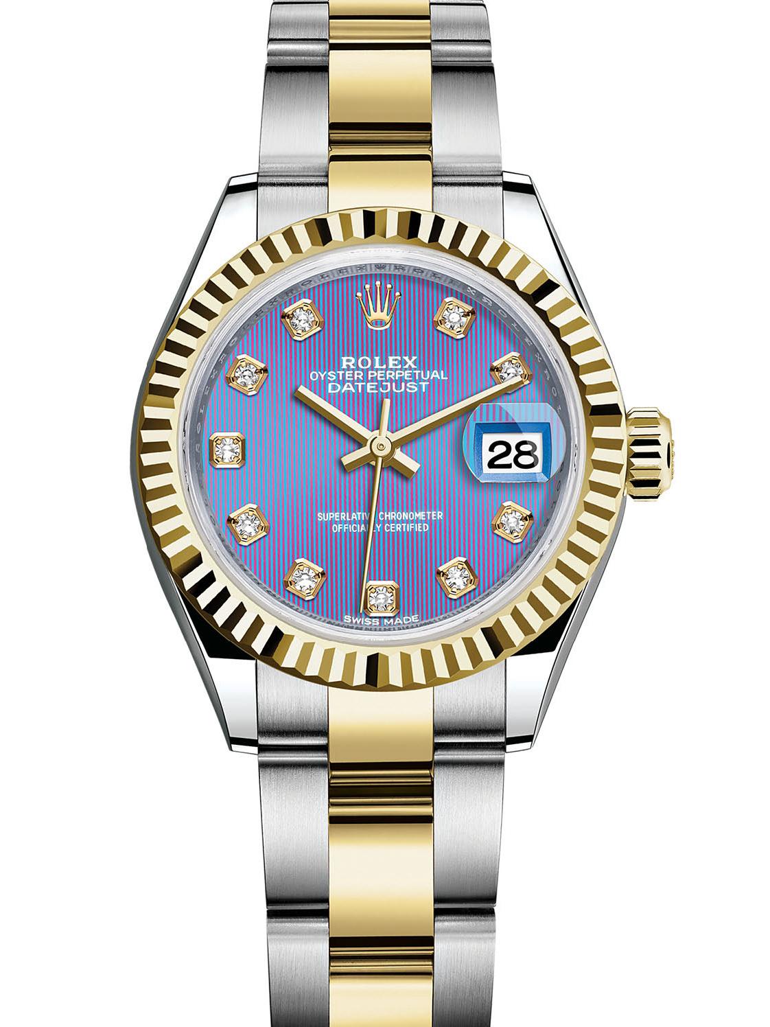 劳力士女装日志型28黄金钢牙圈紫面钻标女表279173-0018