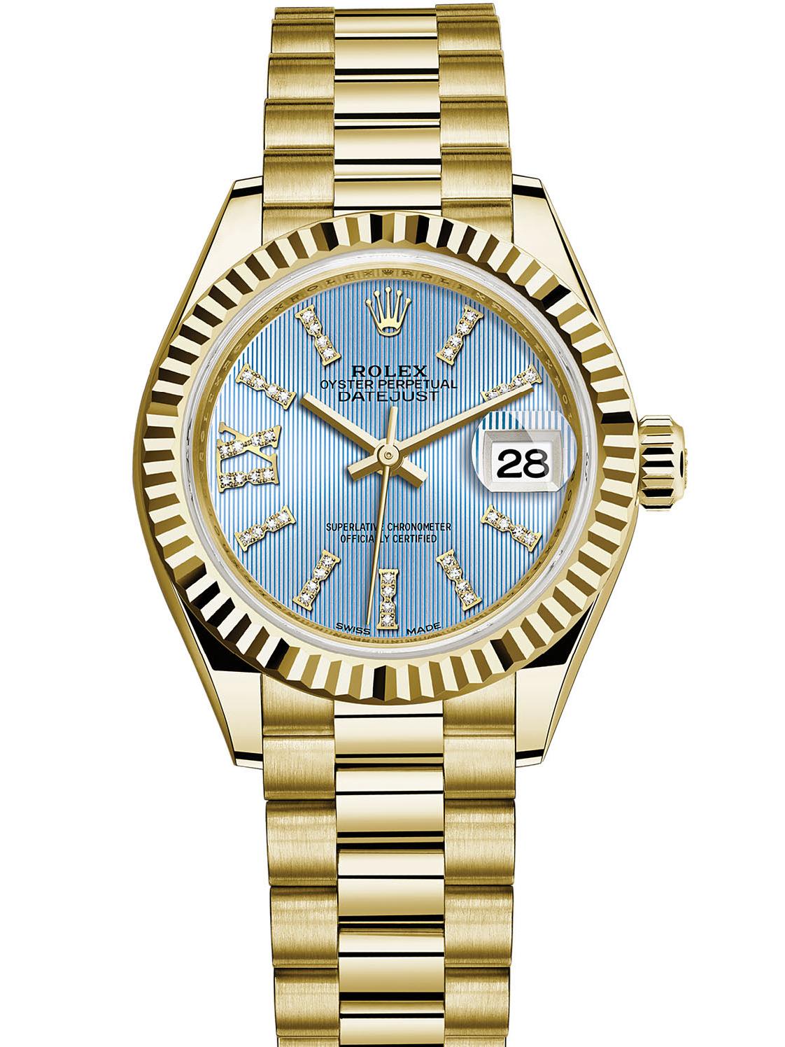 劳力士女装日志型28黄金牙圈蓝面钻标女表279178-0009