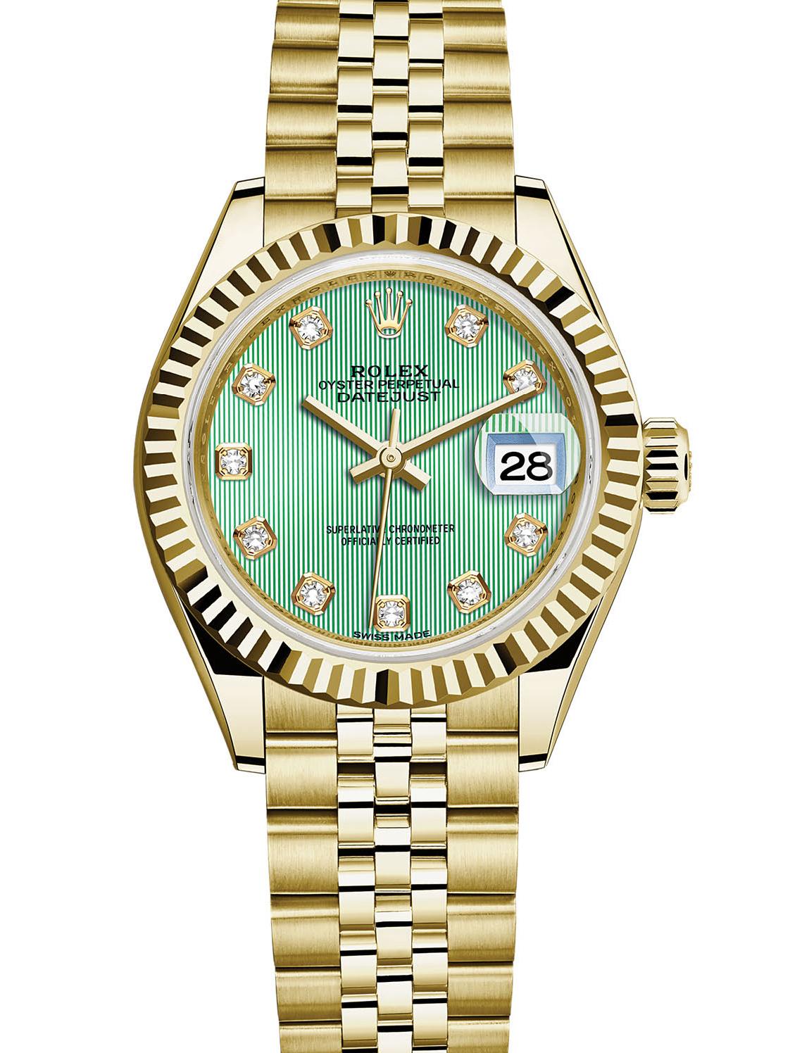 劳力士女装日志型28黄金牙圈绿面钻标女表279178-0028