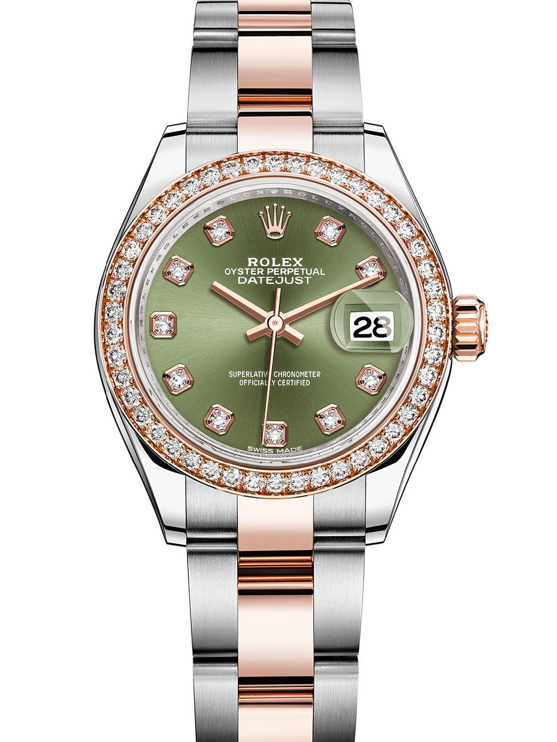 劳力士女装日志型28玫瑰金钢钻圈绿面钻标女表279381RBR-0008