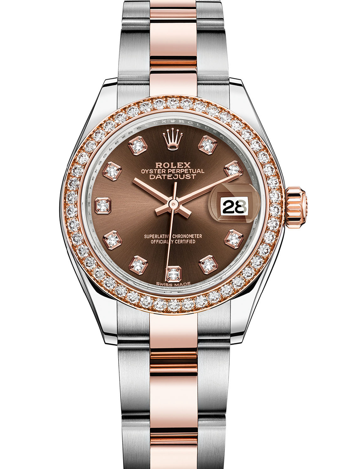 劳力士女装日志型28玫瑰金钢钻圈棕面钻标女表279381RBR-0012