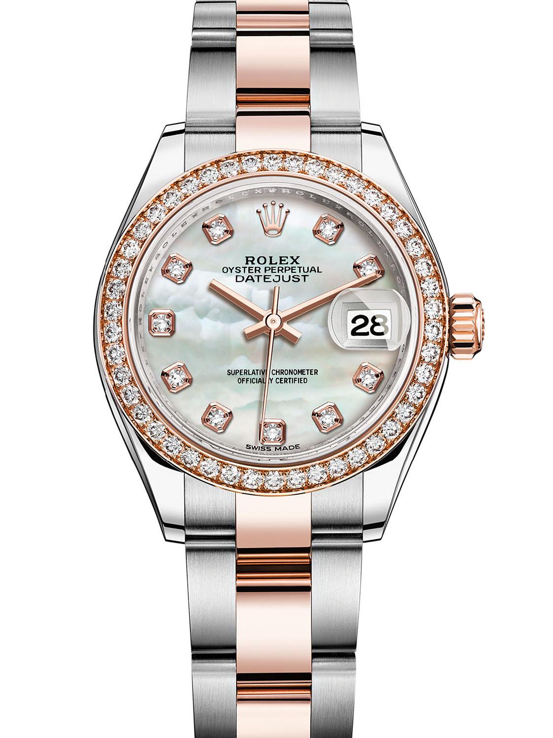 劳力士女装日志型28玫瑰金钢钻圈白贝母面钻标女表279381RBR-0014