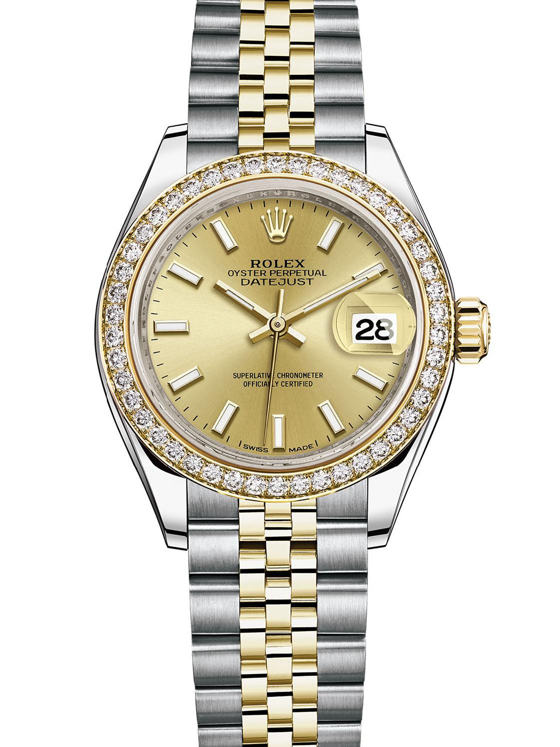 劳力士女装日志型28黄金钢钻圈金面女表279383RBR-0001