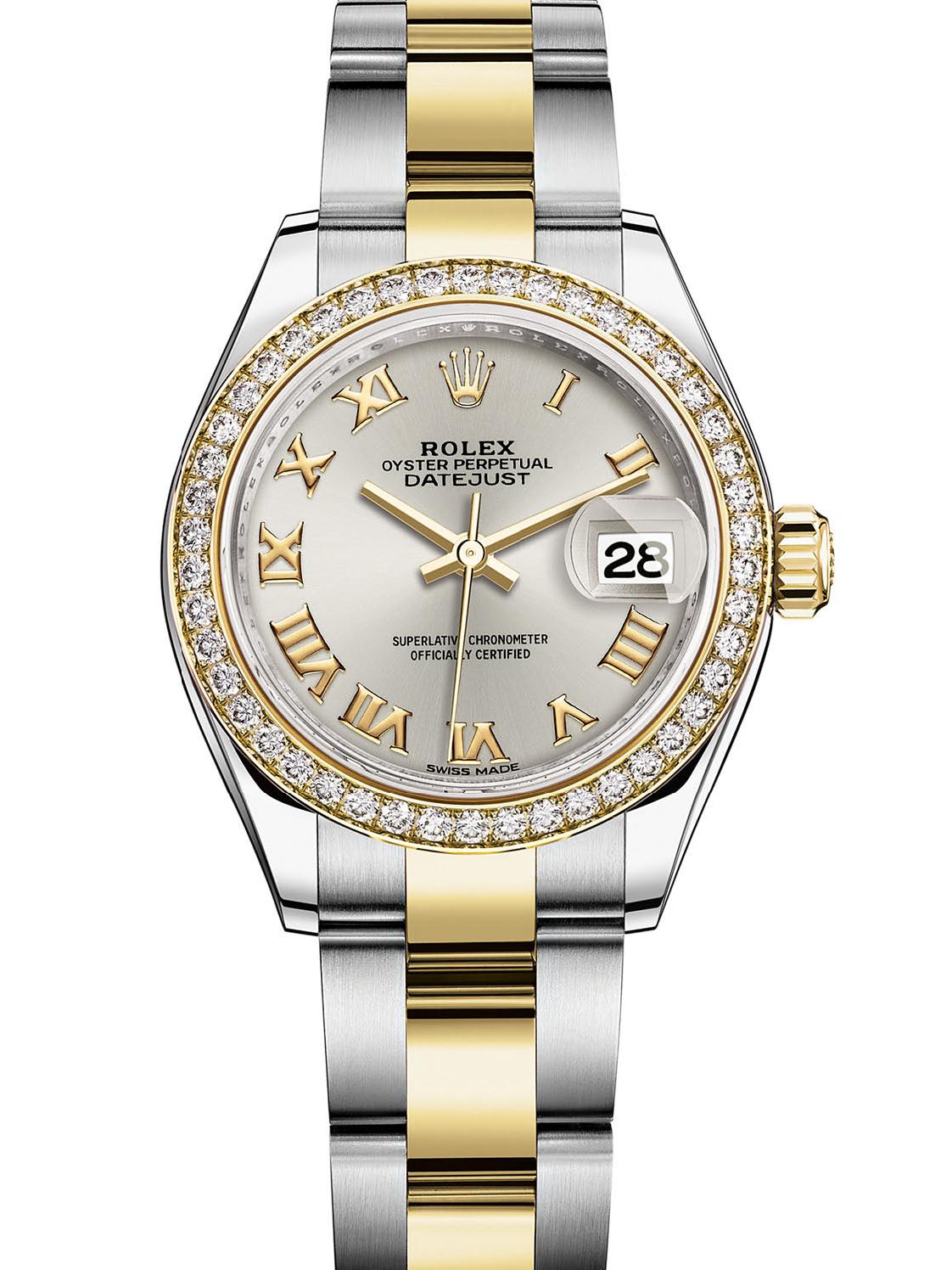 劳力士女装日志型28黄金钢钻圈银面罗马字女表279383RBR-0006