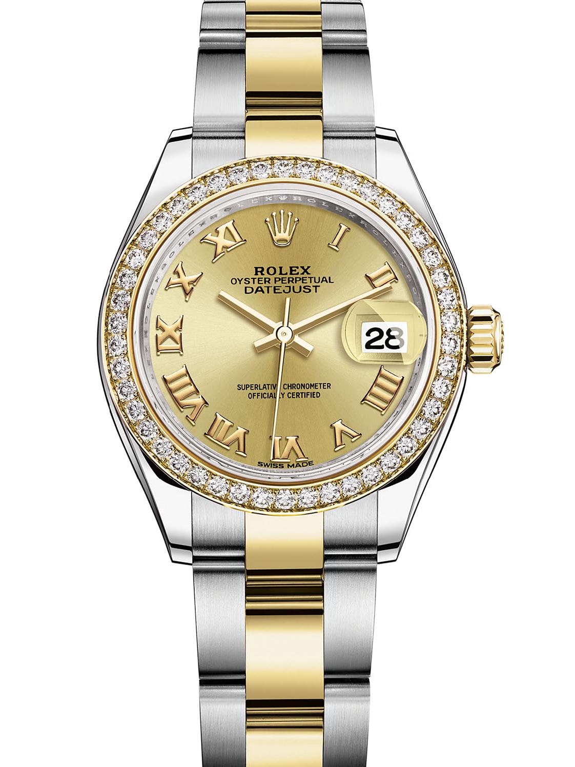 劳力士女装日志型28黄金钢钻圈金面罗马字女表279383RBR-0010
