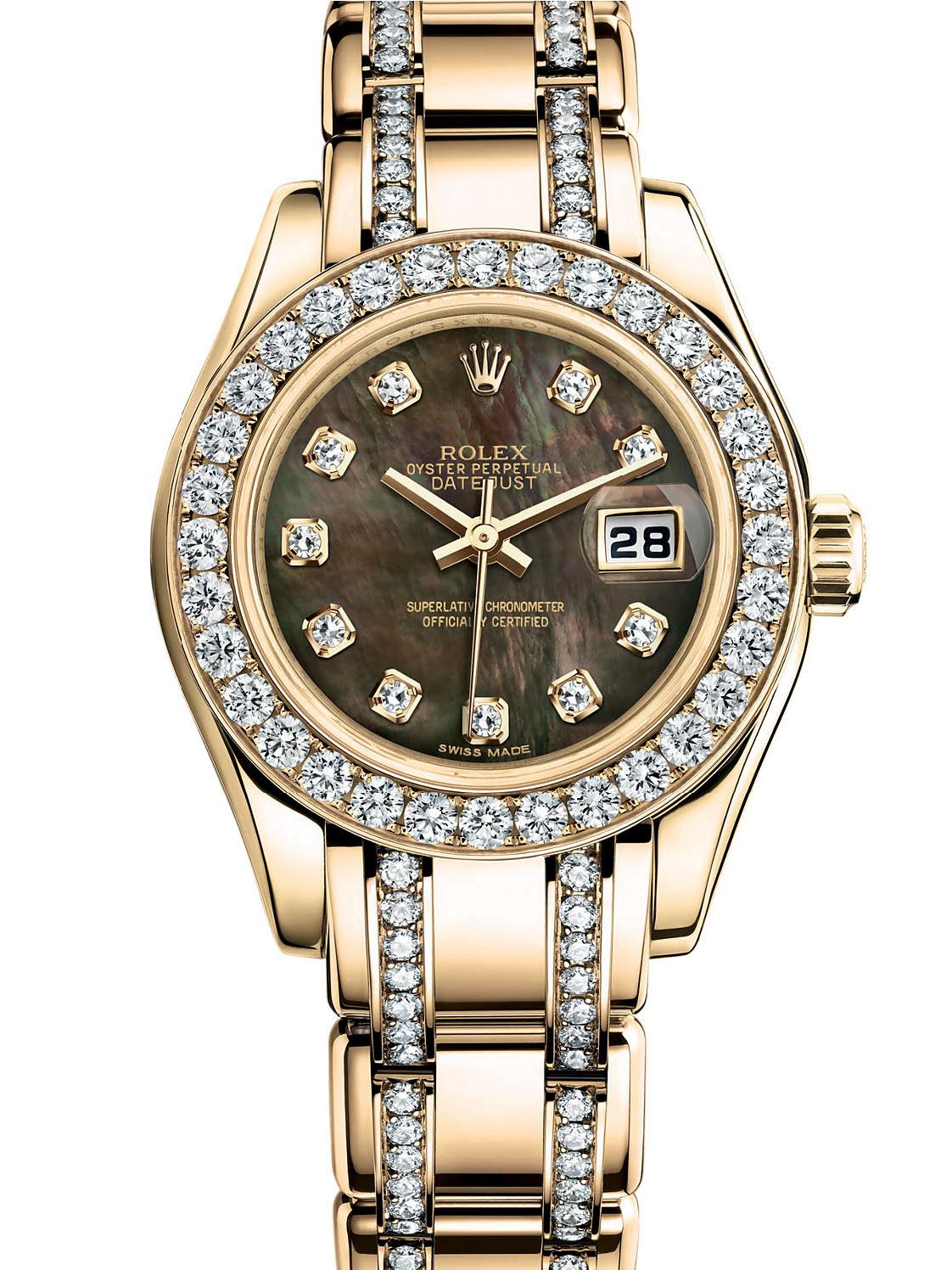 劳力士珍珠淑女型29黄金钻圈黑面女表80298-0045