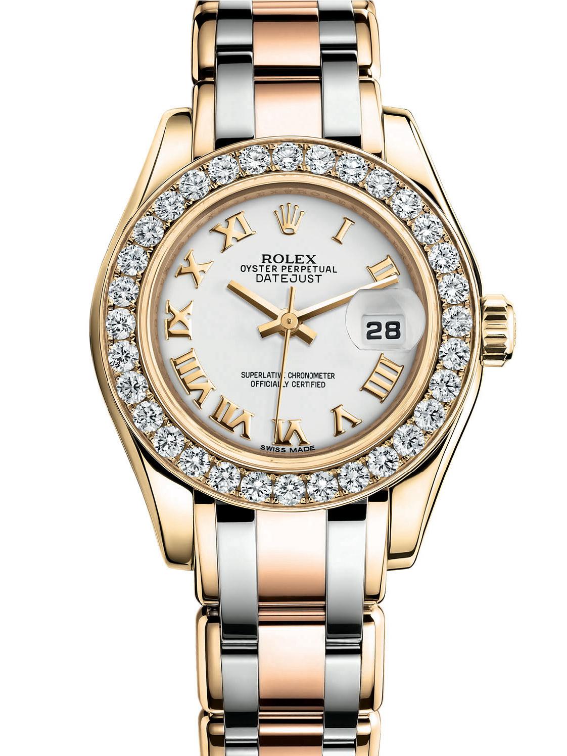 劳力士珍珠淑女型29黄金钻圈白面女表80298-0155